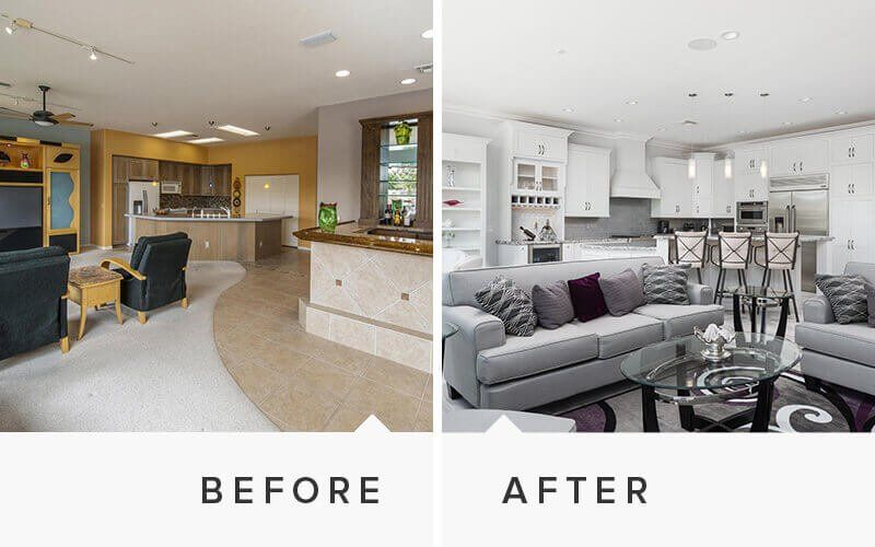 Home remodeling before and after photos - Living room renovation before and after ...